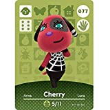 BestTom No.077 Cherry ACNH Animal Villager Card Fan Made.Third Party NFC Card Bank Card Size Water Resistant for Switch/Switch Lite/Wii U