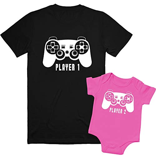 Texas Tees, Family Outfits Matching Sets, Sisters Matching Outfits, Player 1, Player 2 - Black & Pink