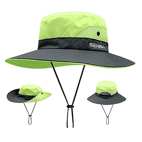 ZffXH - Cappello da pesca con coda di cavallo a tesa larga Verde L