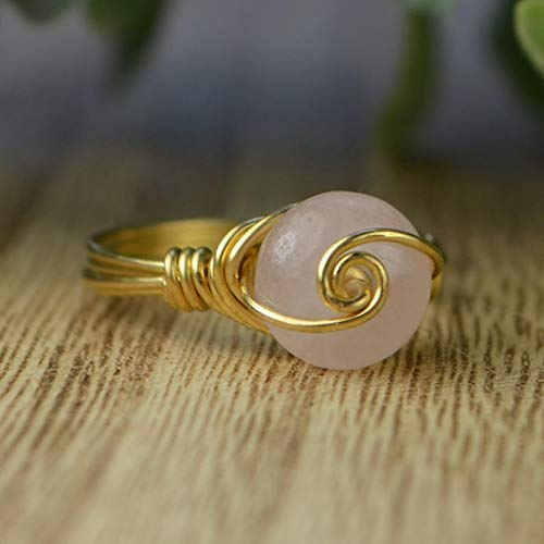 Handmade SILVER BAND wire wrapped ring with gemstone bead
