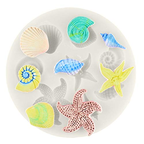 Silicone Molds, Shells Conch Starfish Ocean Elements Shape Chocolate Mold Non-Stick Silicone Mold For DIY Chocolate Candy Fondant Cake Baking Jelly Soap Making Tool