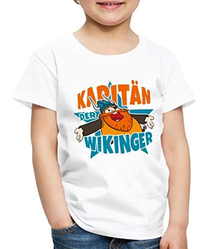 Wickie Und Die Starken Männer Kapitän Halvar Kinder Premium T-Shirt, 134-140, Weiß