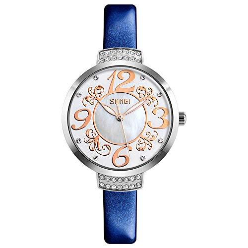AZPINGPAN Relojes para Mujer, Reloj de Personalidad Impermeable de Cuero Genuino, Esfera de nácar con Perlas de Diamantes, Reloj de Pulsera para Mujer, Reloj de Pulsera de Cuarzo para Mujer
