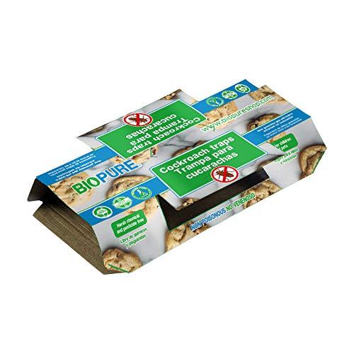 BIOPURE Kit de trampas de Pegamento para cucarachas - No venenoso - Seguro para niños y Mascotas - Su Aroma atrae a Las cucarachas - 10 Pack - 100% Ecológico