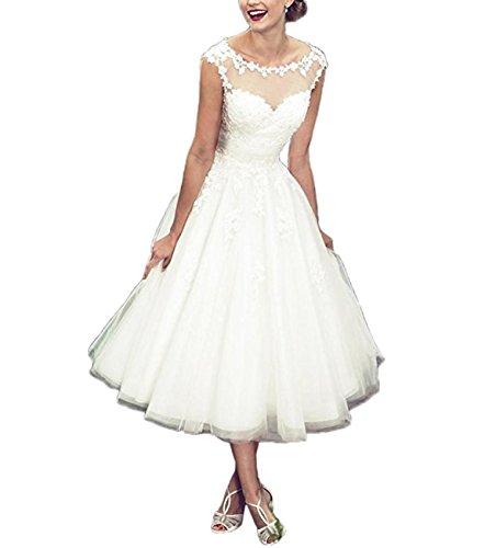 XUYUDITA Einfache Tee-L?nge Kurze Schaufel-Ansatz Appliques Brautkleider T¨¹ll Brautkleid White-UK10