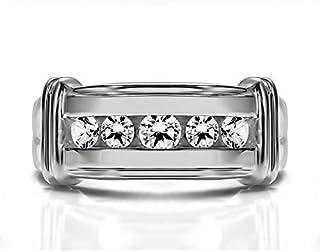 خاتم رجالي من الفضة الإسترلينية من تو بيرش بتصميم عرقوب مضلع مع ألماس (G,I2) (0.5Ct.)