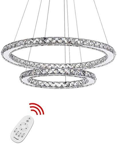 LF- Anillo LED Lámpara moderna 2 anillos regulable Control Remoto Lámpara colgante Altura ajustable de la lámpara de techo for sala de estar Habitación Salón de Oficina (Tamaño: 50 + 70 cm), Tamaño: 5