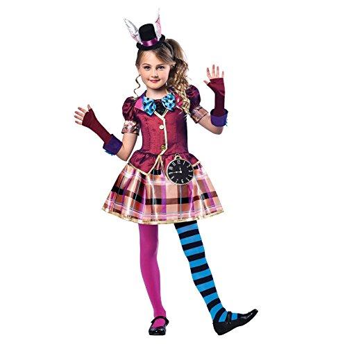 amscan 9902796 Kinderkostüm Miss Mad Hutmacher, Kopfbedeckung und Handschuhe, Buchwoche, Kinder, Mädchen, Alice Outfit (Alter 7-8 Jahre)