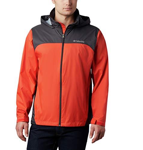 Columbia Men's Glennaker Lake Front-Zip Rain Jacket with Hideaway Hood, Wildfire/Shark, X-Large