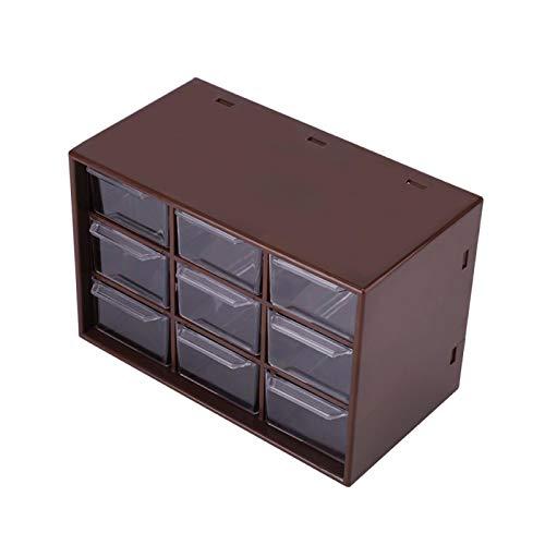 Caja de almacenamiento portátil de plástico con 9 celosías, mini gabinetes, cajones,...