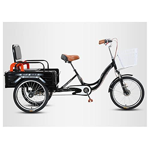OFFA Bicicletas De 3 Ruedas De 20'Triciclo para Adultos Bicicletas De Crucero, Asiento Cómodo, Frenos Dobles Delanteros Y Traseros, Bicicletas De Montaña para Hombres/Mujeres