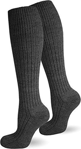 normani 6 Paar Herren Kniestrümpfe mit Schafwolle und Plüschsohle Farbe Anthrazit Größe 43/46