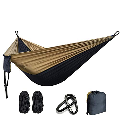 FENGSZ Ultralight Nylon Parachute Hammock 260Cm *140Cm,Rated At 330Lbs-440Lbs,For Outdoor,Yard, Camping,Beach And Patio,Dark Grey And Khaki