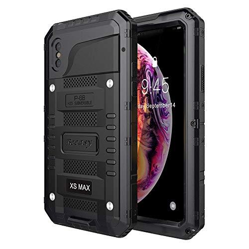 Beeasy Cover iPhone XS MAX Impermeabile Antiurto Nero, IP68 Waterproof Custodia Protettiva Full Body con Protezione dello Schermo, AntiGraffio Antineve Anticaduta Robusta Militare Subacquea Case