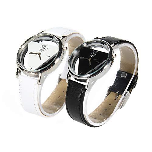 LinTimes Moda Hombres Mujeres Reloj triángulo Estudiantes par analógico de Cuarzo Reloj de Pulsera 2Piezas Negro Blanco
