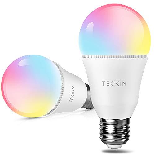 Lampadina Alexa WiFi Smart LED E27, TECKIN Attivabile con Amazon Alexa e Google Home, Multicolor Dimmerabile 7.5W 800LM, Lampadine con timing Luce Calda e Fredda RGBW, 2 Pezzi