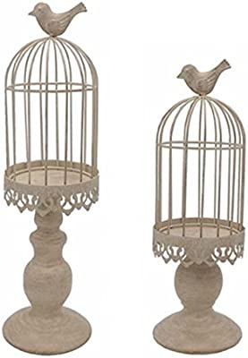 LANLONG Pack of 2-Piece Birdcage Candle Holder, Vintage Candle Stick Holders, Wedding Candle Centerpieces for Tables, Iron Candlestick Holder Home Decor (Candle Holder 2#) (Beige)