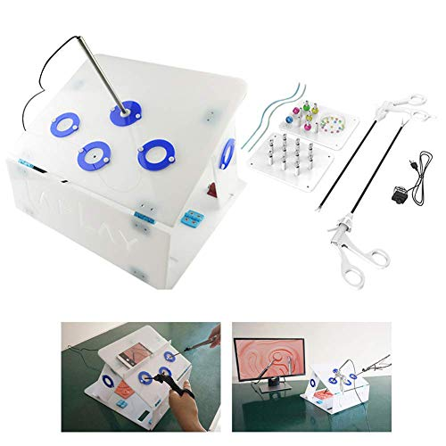 ZBYL Laparoscopic Trainer Simulator Box Kit with 4 Instruments and 5 Training Modules Straight, Medical Teaching Aids for Student Training Use