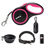 PINA Retractable Dog Leash, 26ft Dog Leash for Small Medium Large Dogs Up to 110lbs, 360° Tangle-Free Strong Reflective Nylon Tape, with Anti-Slip Handle, One-Handed Brake, Pause, Lock - Black Pink