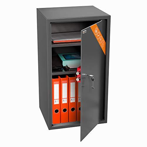 Brihard Negocios XXL caja fuerte con cerradura de llave - Caja fuerte de seguridad grande con estante ajustable 2X, 73x40x36cm, 102L - Para la oficina