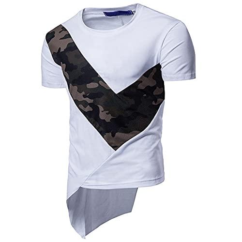 T-Shirt Hombre Estilo Hip-Hop Cuello Redondo Irregular Manga Corta Hombre Shirt Casual Costura Camuflaje Verano Hombre Shirt Personalidad Tendencia Moda Hombre Ropa De Calle A-White L