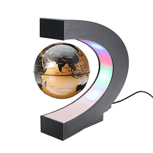 Cacoffay C-Form Magnetisch Levitation Montessori Erdkunde Globus 6 Zoll Schwimmend Welt Karte Tellurion LED Licht Kinder Lernen Spielzeuge,Gold