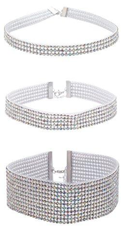 Sasairy Donna Elegante Collana Glitter Choker Necklace con Strass (Larghezza: 1cm+2cm+4cm)