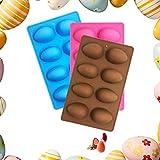 3 Pezzi Stampo in silicone antiaderente a forma di uovo di Pasqua, stampi in silicone per dolci, per torte, cioccolato, budino, ghiaccio, adatto al forno cioccolato (Marrone / rosa / blu)