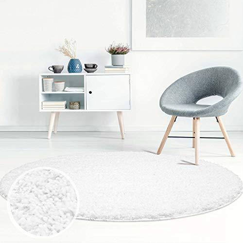ayshaggy Shaggy Teppich Hochflor Langflor Einfarbig Uni Weiß Weich Flauschig Wohnzimmer, Größe: 200 x 200 cm Rund