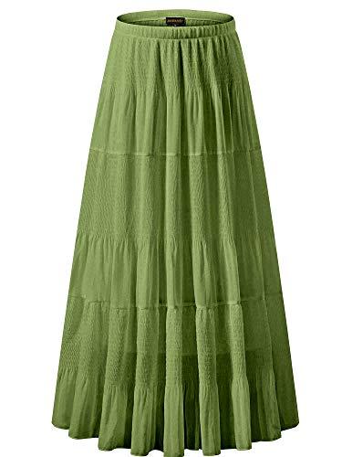 NASHALYLY Women's Chiffon Elastic High Waist Pleated A-Line Flared Maxi Skirts (M, Avocado Green)