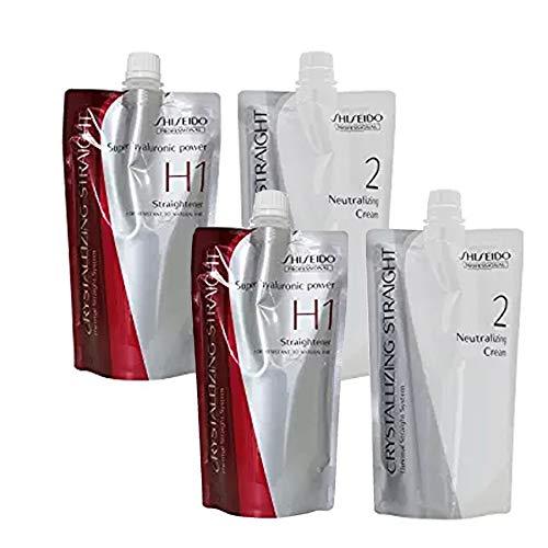 2 pack Hair Rebonding Professional Crystallizing Hair Straightener (H1) + Neutralizing Emulsion (2) for Resistant to Natural Hair