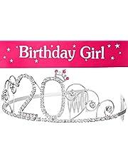 Opaska do włosów koronka + szarfa Birthday Girl 20. urodziny Happy Birthday kryształ stras koronka ozdoba ślubna opaska do włosów grzebień opaska na czoło dla kobiet (korona 20 + szarfa)