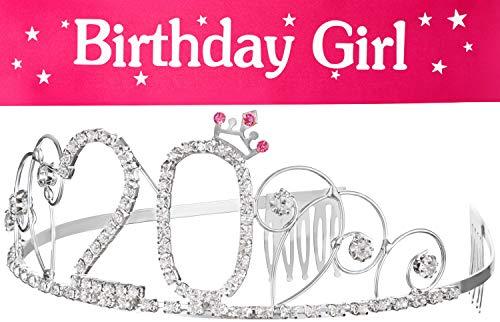 Diadema con corona + banda de cumpleaños para 20 cumpleaños Happy Birthday de cristal, corona de adorno para el pelo, diadema para mujeres (corona 20 + banda)
