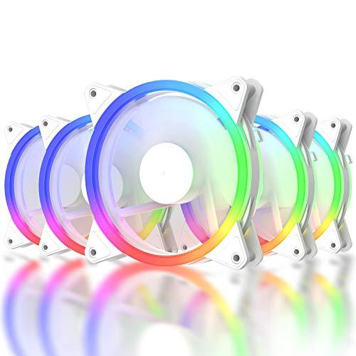 upHere RGB LED Ventilador de 120 mm Flujo de aire elevado y ventilador silencioso 5 Pack,RGB06-5