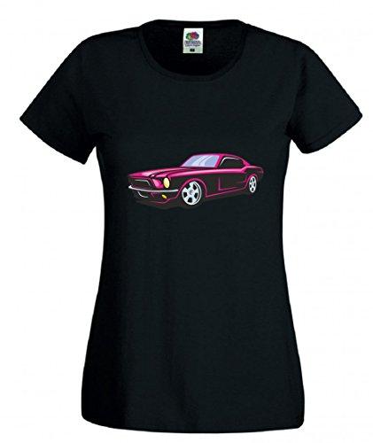 Camiseta de Pink Hot Rod Sportwagen Oldtimer Young Timer America Amy USA Auto Car Ampliación V8 V12 Motor Llanta Tuning Mustang Cobra para hombre mujer niños de 104 – 5XL Negro  Talla del hombre: XXX-Large