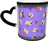 Puppy Pug Taza mágica que cambia de color sensible al calor en el cielo Tazas de café artísticas divertidas Regalos personalizados para amantes de la familia Amigos-Negro