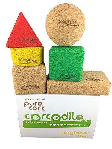 Corcodile Bausteine schadstofffrei aus 100% Kork für Kinder ab 1 Jahr, geeignet für Urlaub Strand und Schwimmbad - Wasserfest (Set Beginner 6 Teile)