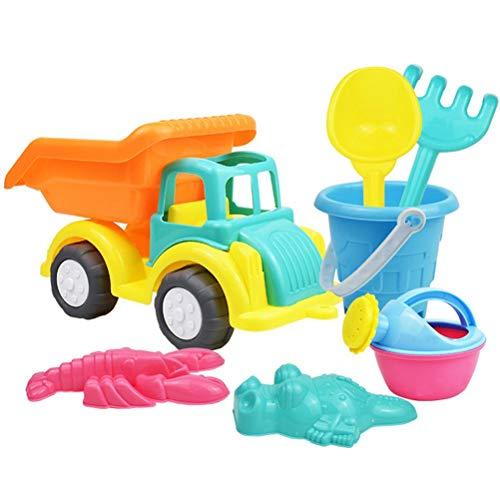 RUSTOO Juego de Juguetes de Arena de Playa para niños pequeños, 7 Piezas, rastrillos de Pala de Cubo de Material Suave, moldes de regadera y camión para arenero