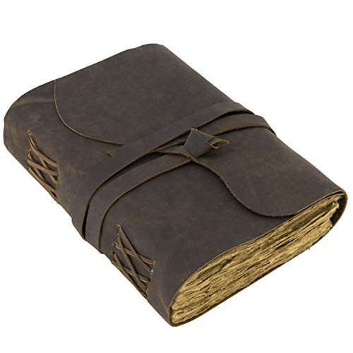 """Vintage Leather Journal Lined Pages - Leatherbound Journal - Handmade Antique Deckle Edge Paper - Leather Sketchbook - Book of Shadows Journal for men and women (7.5"""" x 5.5"""", Vintage Brown)"""