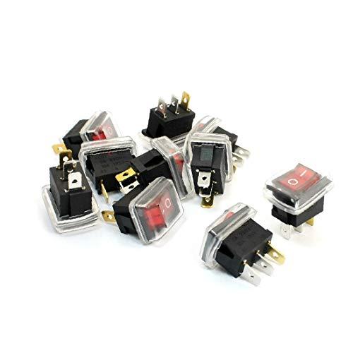X-DREE 10Pcs AC 6A 250V 10A 125V 3Pin SPST Interruptores de balancín impermeables con lámpara piloto roja (10Pcs AC 6A 250V 10A 125V 3Pin SPST Interrupteurs à bascule étanches avec lampe témoin rouge