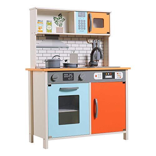 Teamson 85382 Cucina Giocattoli in Legno con Accessori e Utensili per Bambini dai 3 Anni in su, Luci e Suoni, Arancione