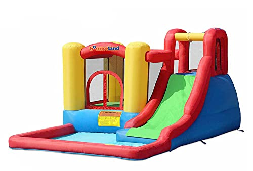 Bounceland Jump and Splash Adventure Bounce House or Water Slide All in one, Large Pool, Fun Bouncing Area with Basketball Hoop, Long Slide with Climbing Wall, UL Certified Blower Included