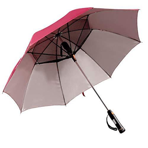 ACOMG UV-Schutz-Regenschirme mit Ventilator, batteriebetriebenem, geradem Schaft-Regenschirm, Sommer-Überdachung, UV-Schutz-Regenschirm im Freien für Feiertags-Strand, Reise