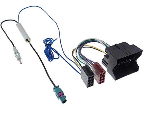 Radio Adapter Fakra-DIN ab 2009 Autoradio Antennenadapter Quadlock ISO Stecker Kabel Phantomeinspeisung Kabelsatz kompatibel mit Audi Seat Skoda VW