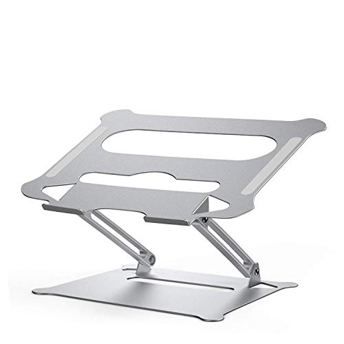 Adjustable Laptop Stand, Ergonomic Notebook Computer Holder, Aluminum Foldable Riser Stand Compatible with 11' to 17.3' Laptop, MacBook, Air, Pro, Dell XPS, Samsung and Lenovo (Silver)