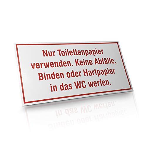 """Betriebsausstattung24® Hinweisschild """"nur Toilettenpapier verwenden""""   Toilettenhinweis   Toilettenregel   Selbstklebende PVC-Folie 20,0 x 10,0 cm"""