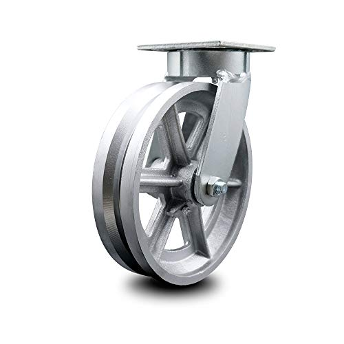 """Kingpinless V Groove Semi Steel Swivel Top Plate Caster w/8"""" x 2"""" Silver Wheel - 1250 lbs Capacity/Caster - Service Caster Brand"""