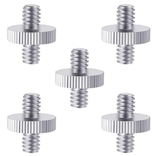 Zholuzl No Deformation 5 Pieces 1/4 inch Male to 1/4 inch Male Metal Threaded Screw Adapter Tripod Screw Converter for DSLR Camera,Tripod,Mo (Color : White, Size : A1) High Strength