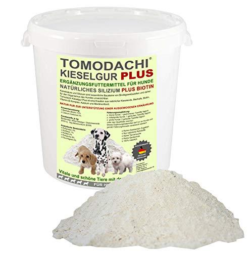 Futterzusatz Hund Kieselerde Plus Biotin BARF Zusatz für Hunde natürliches Ergänzungsfuttermittel für eine ausgewogene Ernährung des Hundes reich an Silizium Biotin Calzium Mineralien 500ml Eimer