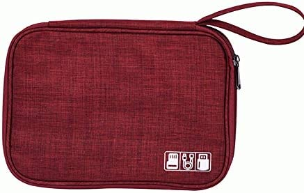 Electronic Organizer Travel Portable Universal Cable Organizer Cable Cord Bag with Strap Electronics Accessories Cases Storage Bag Waterproof for Cable, USB, SD Card, Power Bank, Earphone (BOE-Red)